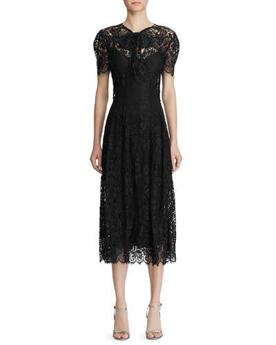 Bridget Lace Puff-Sleeve Midi Dress