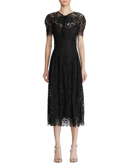 Ralph Lauren Collection Bridget Lace Puff-Sleeve Midi Dress