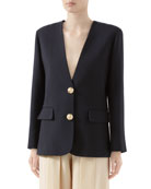 Gucci Double Wool Crepe V-Neck Jacket