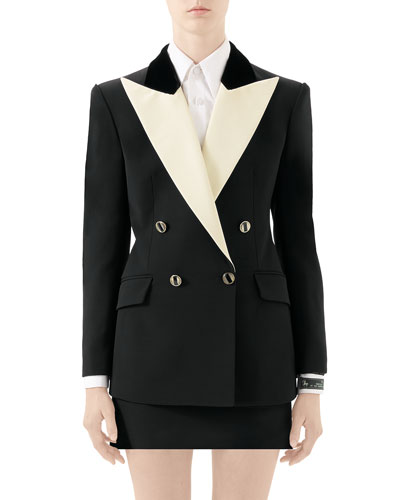 Two-Tone Silk-Wool Cady Tuxedo Jacket