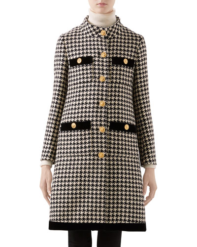 Houndstooth Coat with Velvet Trim