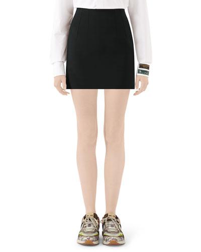 Silk/Wool Cady Mini Skirt