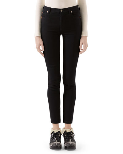 Soft-Washed GG-Pocket Skinny Jeans