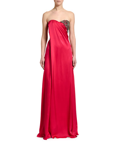 Strapless Silk Embroidered-Bust Gown