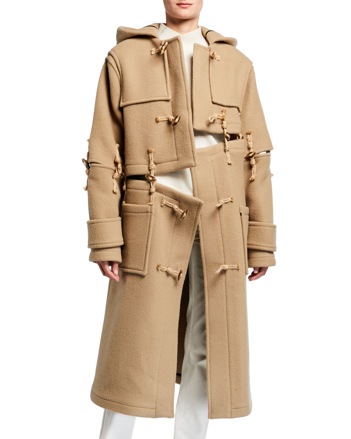 Rokh Coats DECONSTRUCTED WOOL OVERSIZED DUFFLE COAT