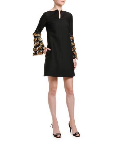 Golden-Scallop Sleeve Shift Dress