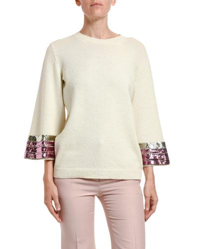 Sequin-Cuff Wool-Cashmere Sweater