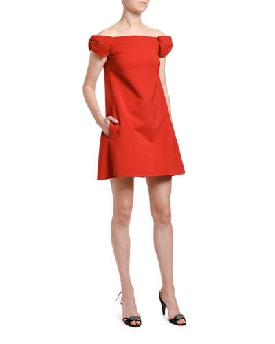 Off-the-Shoulder Crepe Shift Dress