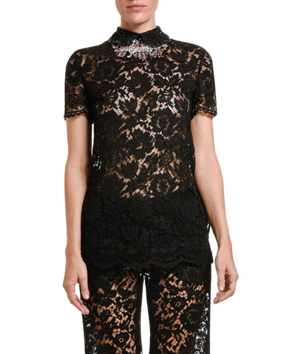 Lace Jeweled-Collar Short-Sleeve Shirt