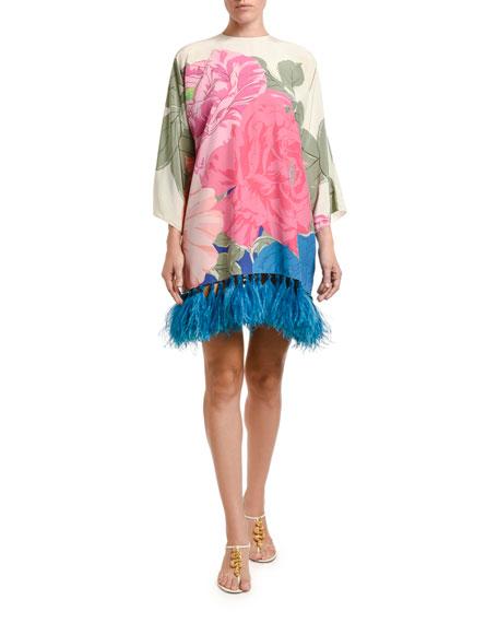 Valentino Feathered Long-Sleeve Dress