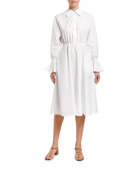 Valentino Poplin Bell-Cuff Shirtdress