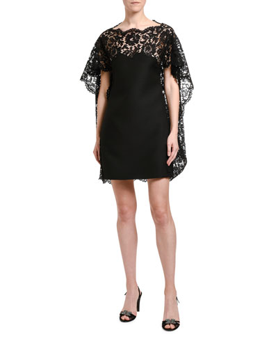 Lace-Cape Shift Dress