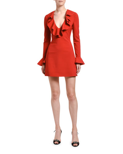 Ruffled Neck Bell-Sleeve Dress