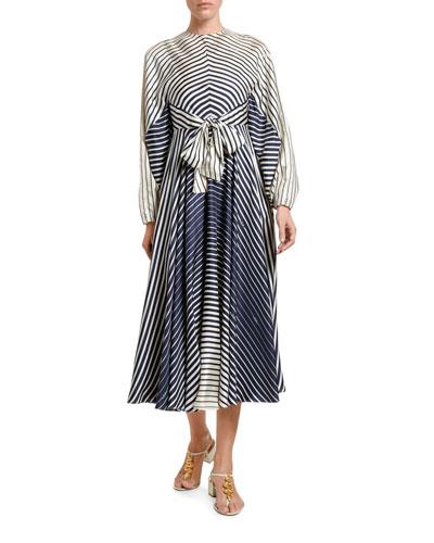 Engineer-Striped Silk Tie-Waist Midi Dress