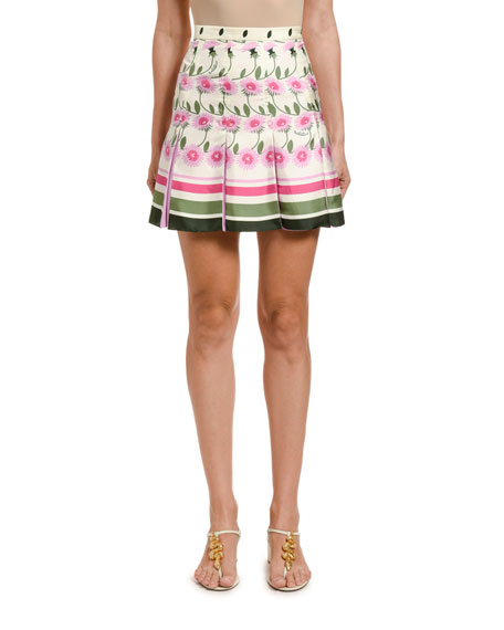 Valentino Daisy Degrade Pleated Skirt