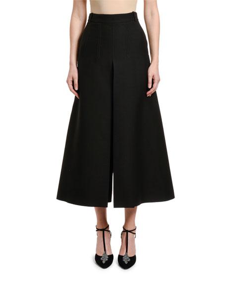 Valentino Wool-Silk Wide-Leg Crop Pants
