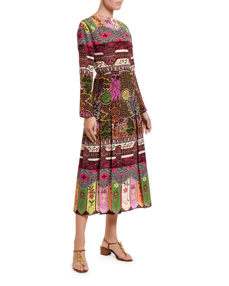 Valentino Silk Long-Sleeve Midi Dress