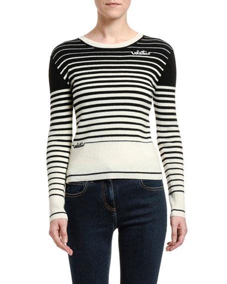 Valentino Striped Wool-Cashmere Crewneck Sweater