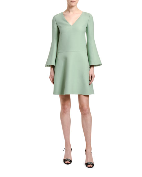 Valentino V-Neck Bell-Sleeve A-Line Dress