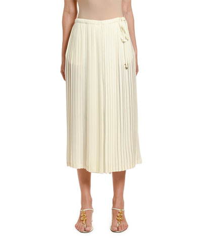 Pleated Wide-Leg Crop Pants