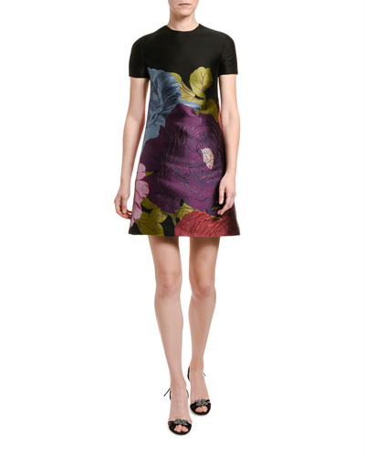 Short-Sleeve Floral Shift Dress