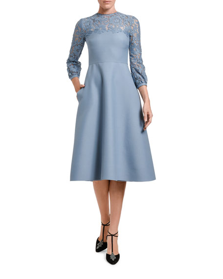 Valentino Lace 3/4-Sleeve Dress