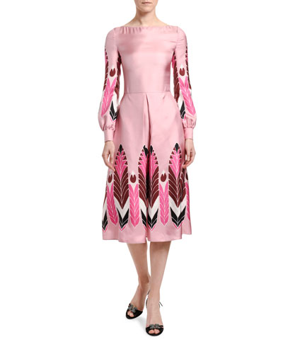 Silk Long-Sleeve Midi Dress