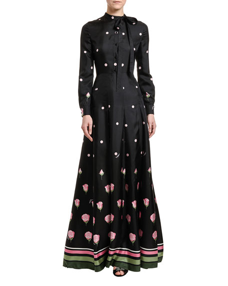 Valentino Polka & Rose Print Taffeta Shirtdress Gown