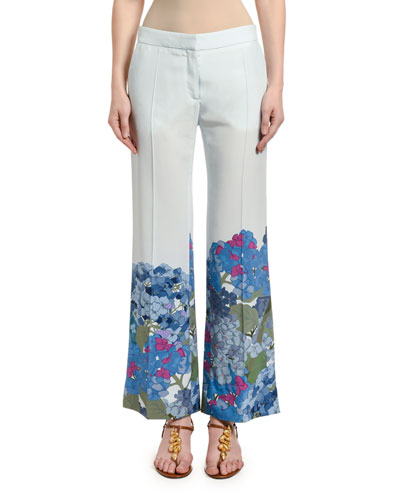 Floral-Cuff Silk Wide-Leg Pants