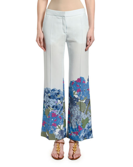 Valentino Floral-Cuff Silk Wide-Leg Pants