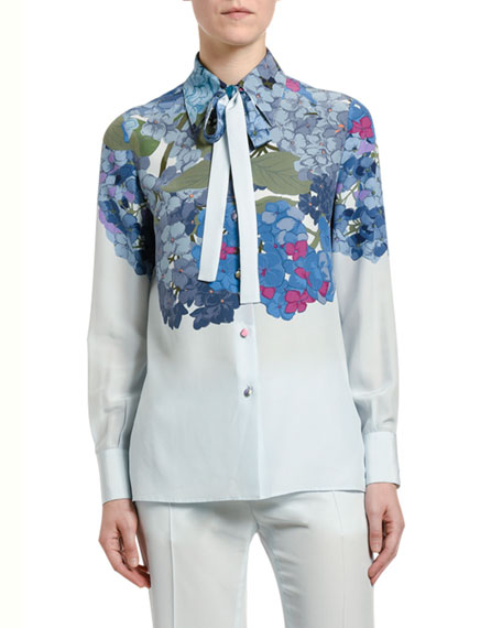 Valentino Floral-Print Silk Tie-Neck Shirt