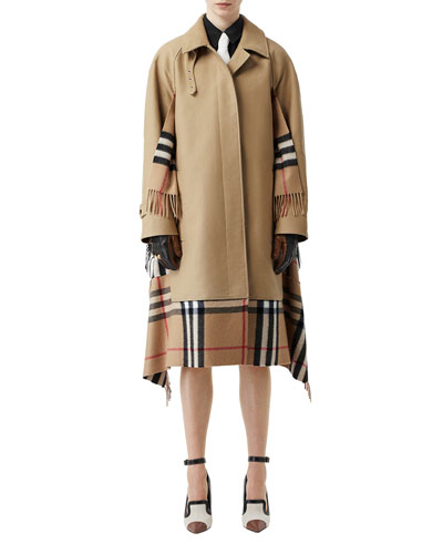 Cashmere Check-Inset Car Coat