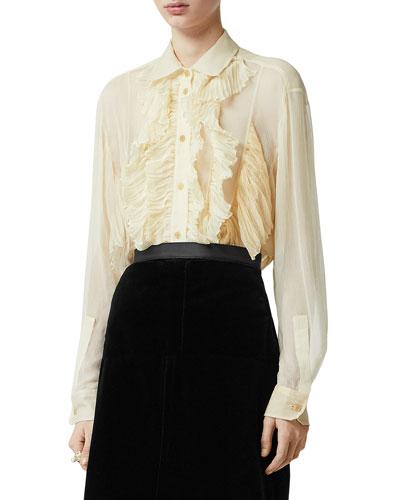 Button-Down Long-Sleeve Mulberry Silk Ruffle Top