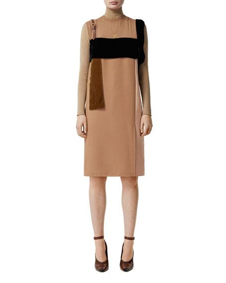 Burberry Leather-Strap Chiffon Mix Dress