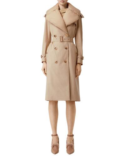 Puffer-Collar Trench Coat