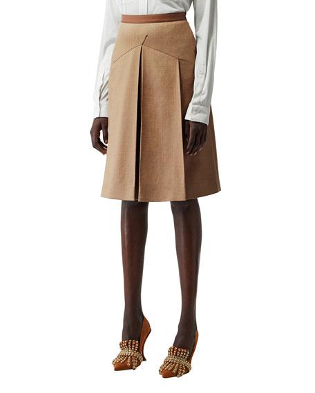 Burberry Leather-Waist Wool/Silk Skirt