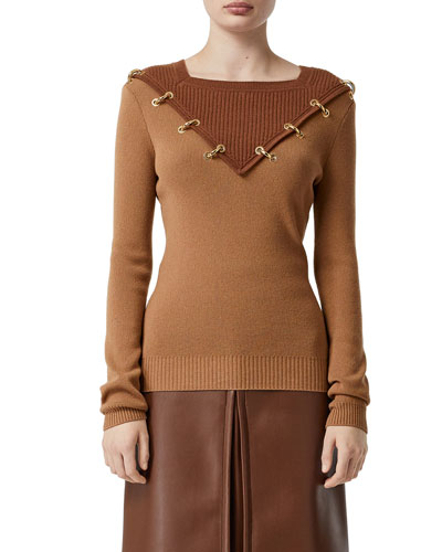 Golden Ring-Trim Wool-Cashmere Sweater