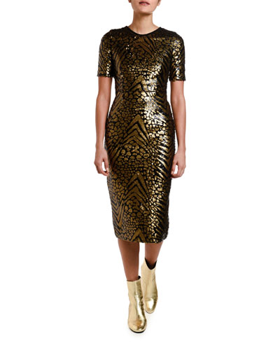 Sequined Fitted Sheath Dress
