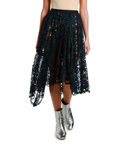 Pleated Knee-Length Lace Skirt