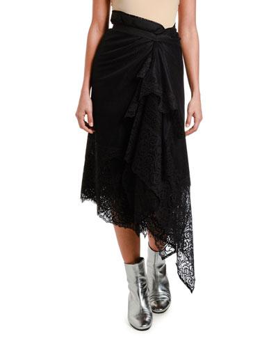 Asymmetric Lace Wrap Skirt