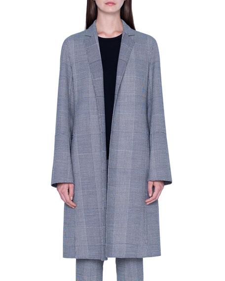 Akris Wool Plaid-Lined Coat