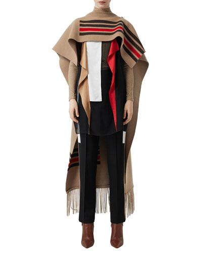 Striped Wool-Cashmere Cape