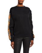 Burberry BRONX Oversized Check-Inset Sweatshirt