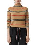 Burberry Cashmere Icon-Striped Tunic Sweater