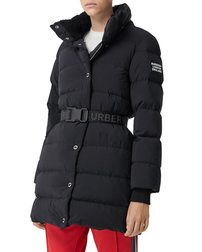 Quilted Short Coat w/ Logo Belt
