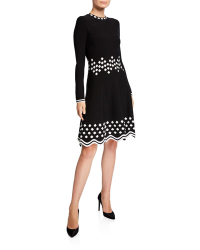 Diamond-Jacquard Long-Sleeve Knit Dress