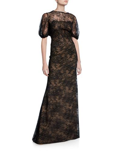 Lace Blouson-Bodice Gown