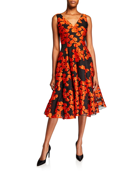 Lela Rose Floral Brocade V-Neck Dress