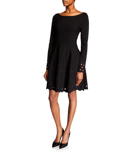 Laser-Cut Boat-Neck Knit Dress