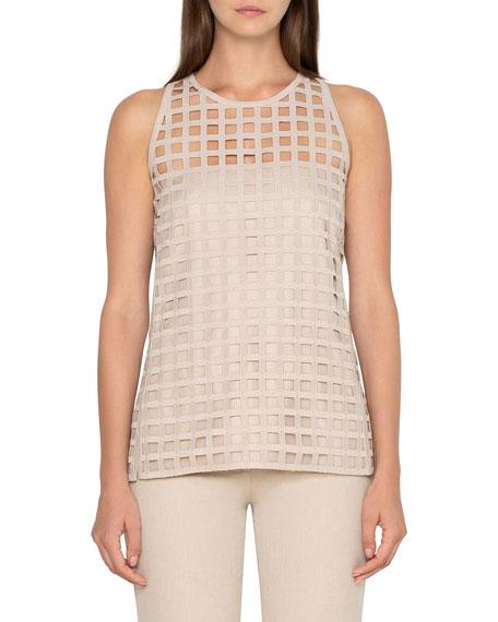 Akris Sleeveless Grid-Lace Blouse